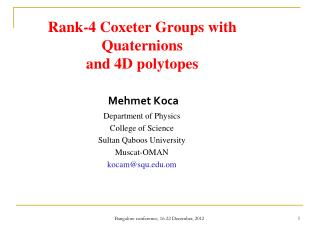 Rank-4 Coxeter Groups with Quaternions  and 4D polytopes