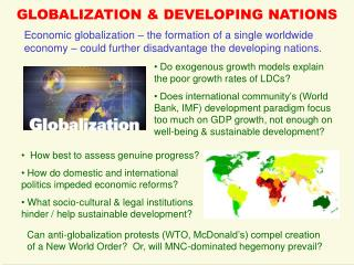 GLOBALIZATION & DEVELOPING NATIONS