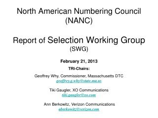 North American Numbering Council (NANC) Report of  Selection Working Group (SWG)