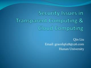 Security Issues in  Transparent Computing & Cloud Computing