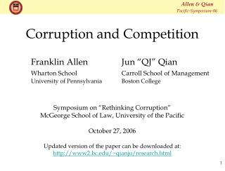 Corruption and Competition
