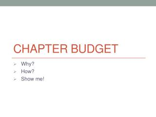 Chapter Budget
