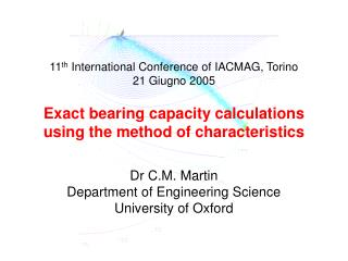 Dr C.M. Martin Department of Engineering Science University of Oxford