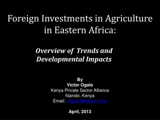 Foreign Investments in Agriculture in Eastern Africa: