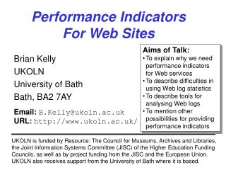 Performance Indicators For Web Sites