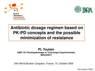 Antibiotic dosage regimen based on PK-PD concepts and the possible minimization of resistance