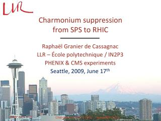 Charmonium  suppression from SPS to RHIC
