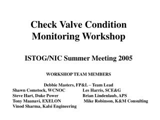 Check Valve Condition Monitoring Workshop