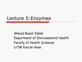 Lecture 5:Enzymes