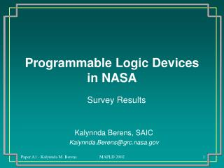 Programmable Logic Devices in NASA