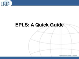 EPLS: A Quick Guide