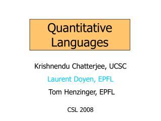 Quantitative Languages