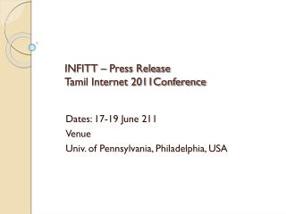 INFITT – Press Release Tamil Internet 2011Conference