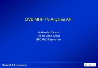 DVB MHP TV-Anytime API
