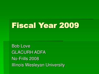 Fiscal Year 2009