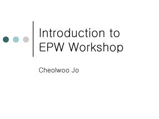 Introduction to EPW Workshop