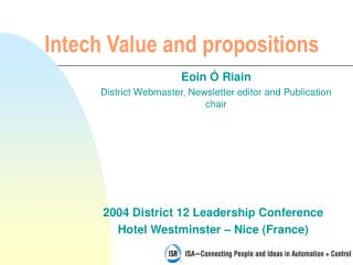 Intech Value and propositions