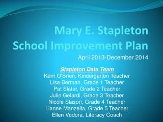 Mary E. Stapleton School Improvement Plan