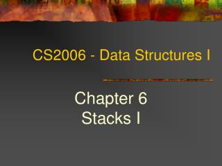CS2006 - Data Structures I
