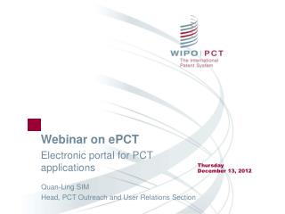 Webinar on ePCT Electronic portal for PCT applications