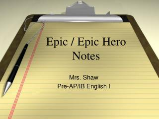 Epic / Epic Hero Notes