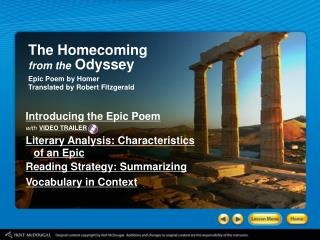 The Homecoming from the Odyssey Epic Poem by Homer Translated by Robert Fitzgerald