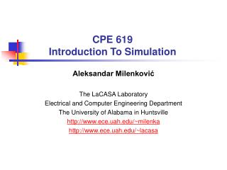 CPE 619 Introduction To Simulation