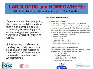 LANDLORDS and HOMEOWNERS: What You Need to Know about Lead in Your Building