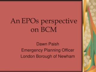 An EPOs perspective on BCM