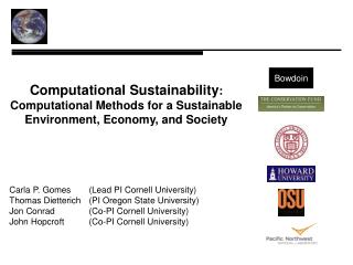 Computational Sustainability : Computational Methods for a Sustainable Environment, Economy, and Society