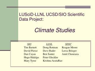 LUSciD-LLNL UCSD/SIO Scientific Data Project: