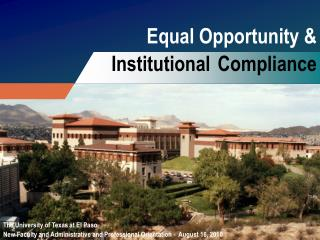 Equal Opportunity & Institutional Compliance