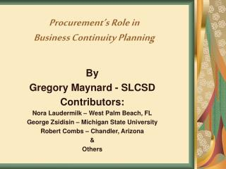 Procurement's Role in  Business Continuity Planning