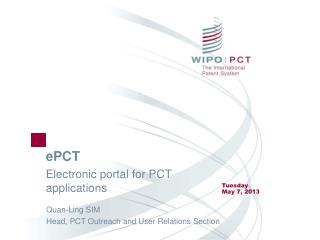 ePCT Electronic portal for PCT applications