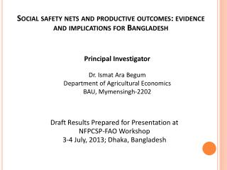 Social safety nets and productive outcomes: evidence and implications for Bangladesh
