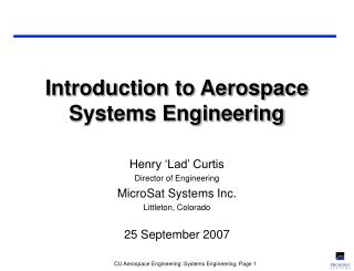 Introduction to Aerospace Systems Engineering