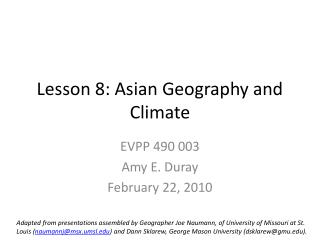 Lesson 8: Asian Geography and Climate