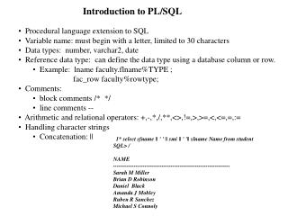 Introduction to PL/SQL