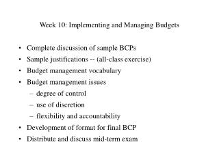 Week 10: Implementing and Managing Budgets