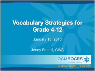 Vocabulary Strategies for Grade 4-12