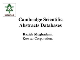 Cambridge Scientific Abstracts Databases