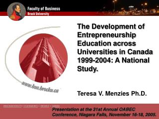 Presentation at the  31st Annual OABEC Conference, Niagara Falls, November 16-18, 2005.