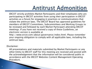 Antitrust Admonition