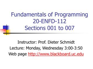 Fundamentals of Programming 20-ENFD-112   Sections 001 to 007