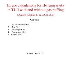 Eirene calculations for H   emissivity in TJ-II with and without gas puffing