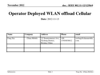 Operator Deployed WLAN offload Cellular