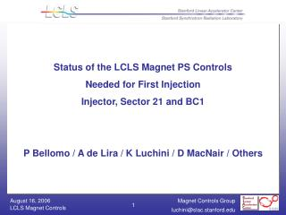 Status of the LCLS Magnet PS Controls Needed for First Injection Injector, Sector 21 and BC1