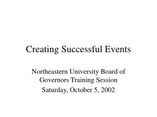 Creating Successful Events