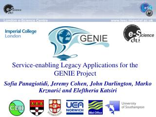 Service-enabling Legacy Applications for the GENIE Project
