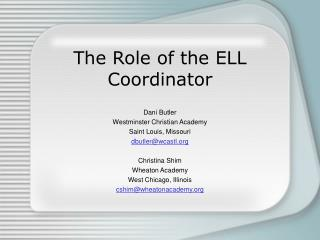 The Role of the ELL Coordinator